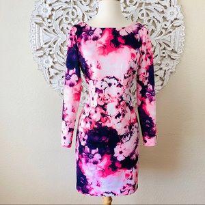 {Gianni Bini} Watercolor Floral Long Sleeve Dress